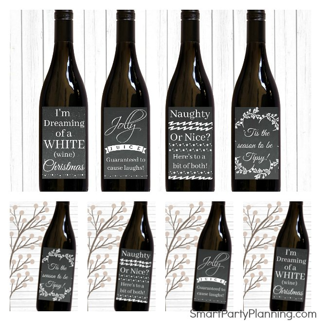 Christmas gift. Set of 4 chalkboard wine labels