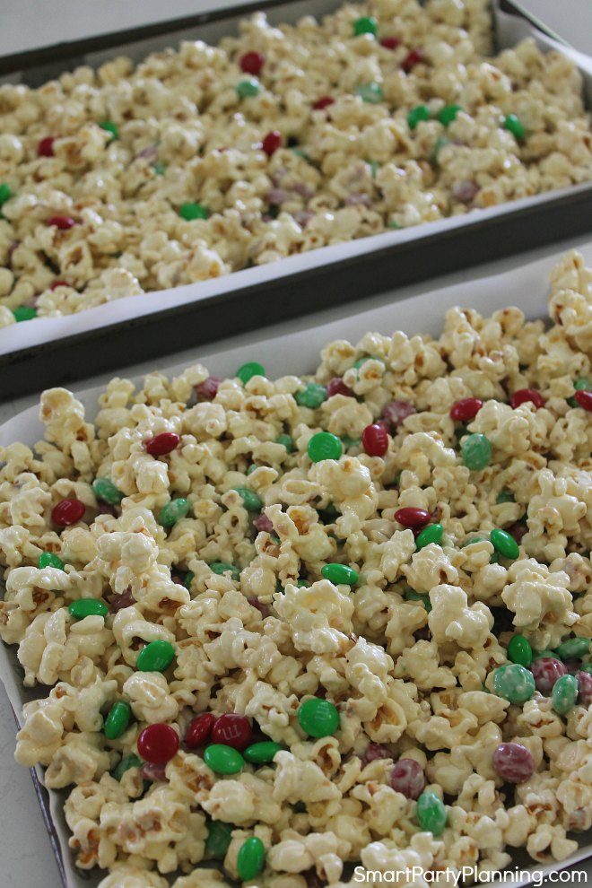 lay out white chocolate popcorn to dry