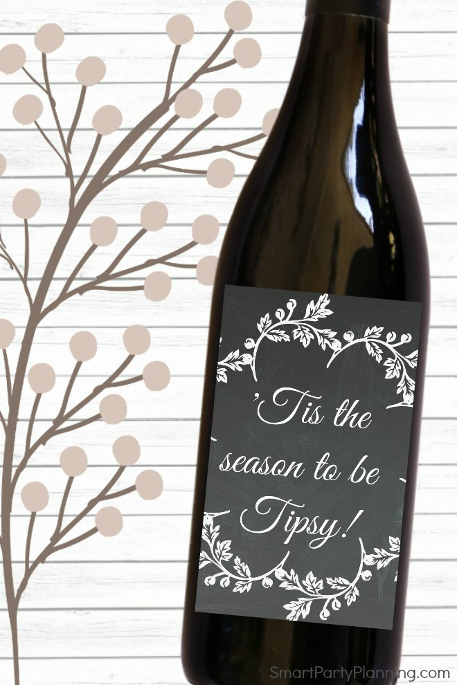 Tis the season to be tipsy wine label Christmas gift