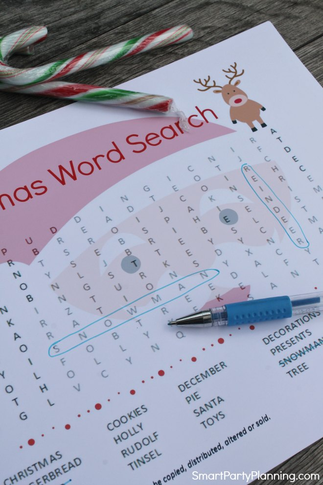 Christmas word search puzzle Santa themed