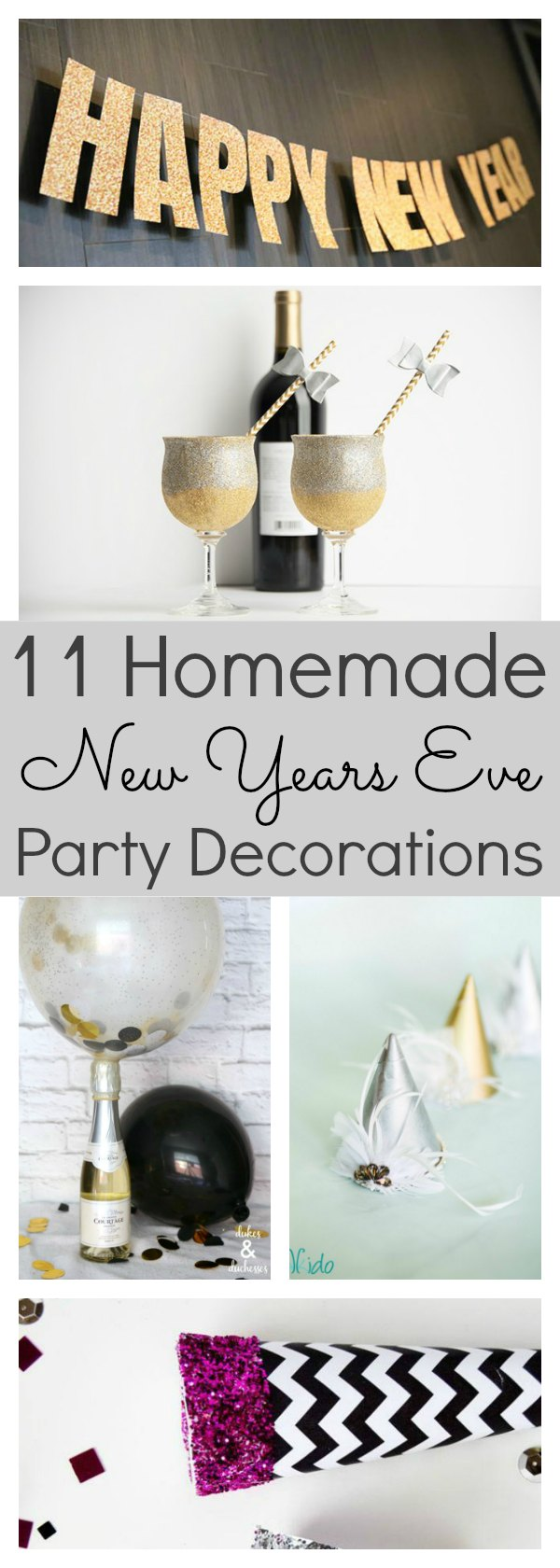 New years eve is all about the fun!  These homemade new years eve decorations will certainly help put that FUN into the evening. All of these ideas can be put together last minute, so if you have nothing planned right now, you certainly don't need to stress. With easy tutorials and simple materials, you can whip up every single one of these ideas in no time at all. #NewYearsEve #Decorations #DIY #Homemade