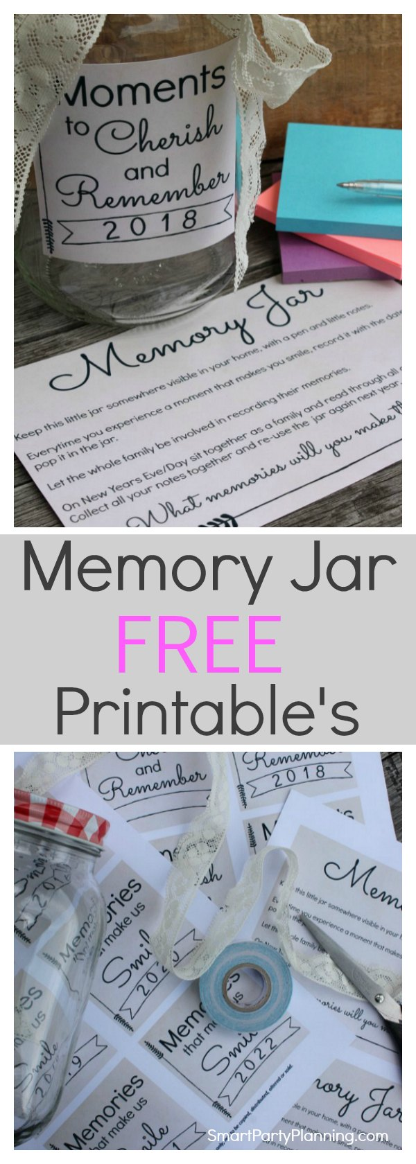 Learn how to make a memory jar as a great alternative to writing a journal. Free printable's are available to make this an easy DIY. A memory jar is the best way to capture the moments taken place during the year which can easily be forgotten. A memory jar printable is available from 2018-2022, plus an instruction sheet. Click to get the free printable's in two designs.