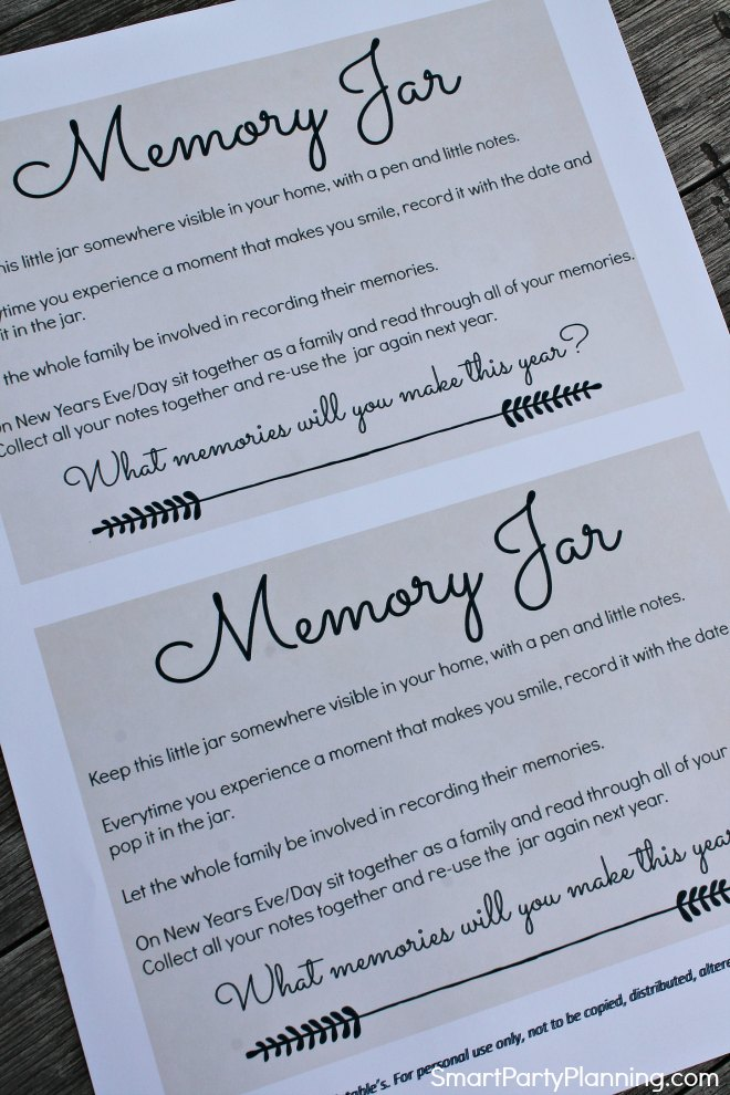 Memory Jar Instruction Sheet