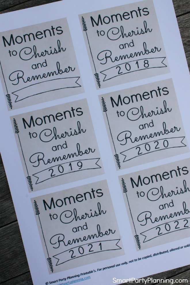 Moments to cherish memory jar printable How