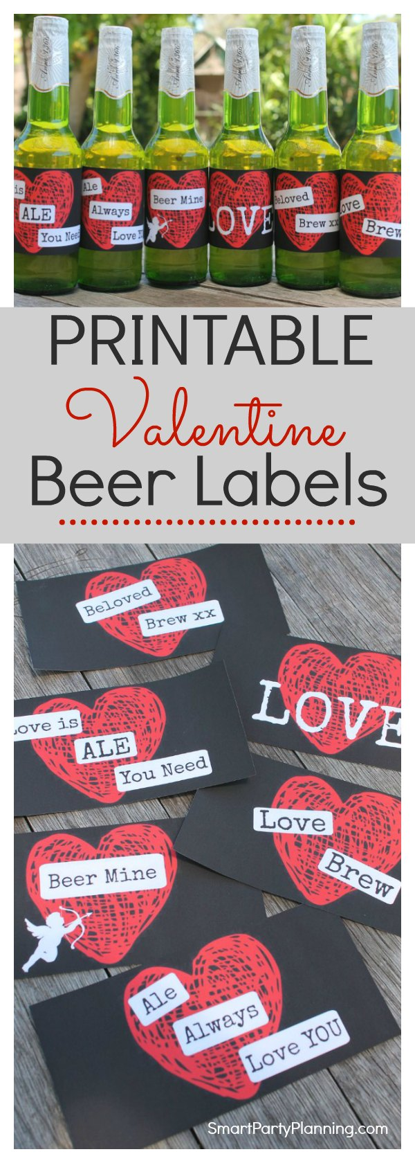 Set of 6 printable Valentine beer labels which make the perfect gift for him.  Guys love beer which makes this the easiest way to say