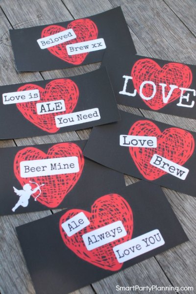 Red Heart Valentine Beer Labels