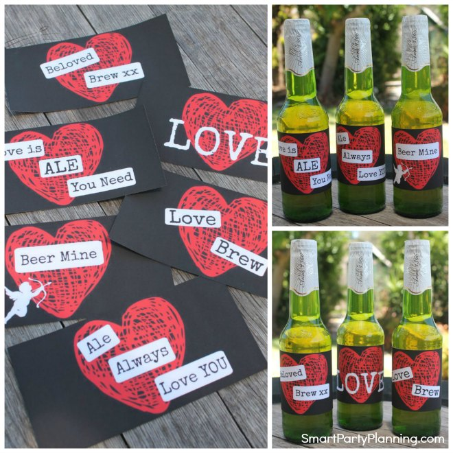 Set of 6 Printable Valentine Beer Labels For Men