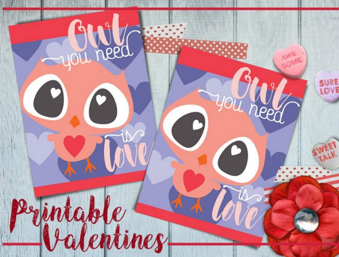 Valentine Owl Printable Card