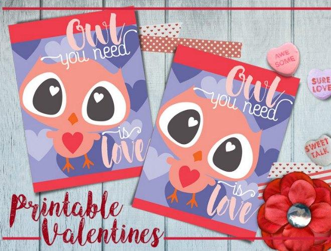 Valentine Owl Printable Card