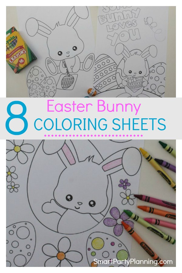 Totally gorgeous Easter bunny coloring sheets for kids that are available for free as an instant download.  With eight different fun Easter bunny pictures to color, they will keep the kids occupied for hours. This is a fun free Easter printable that you don't want to miss out on. #Easterbunny #Freeprintable #Easterbunnycoloringpages #Fun