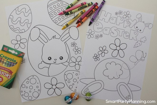 Easter bunny bottom and eggs coloring sheets