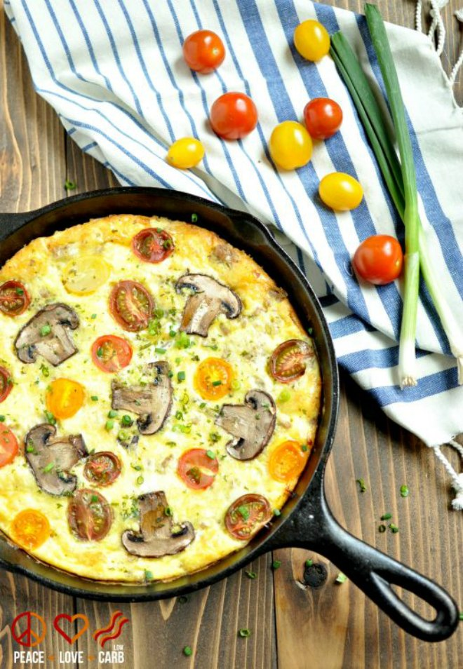 Sausage, cheddar and tomato frittata