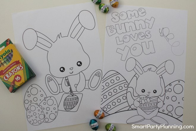 eggs and Easter bunny coloring sheets