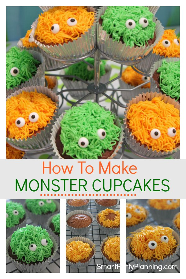 Learn how to make these adorable monster cupcakes. They are easy to make for either a birthday or Halloween party. With a simple piping technique and some cute little candy eyes, the kids are going to love them. #Monstercupcakes #Birthday #Halloween #DIY #Simple #Easy #Kids #Monster #Fun #Howtomake