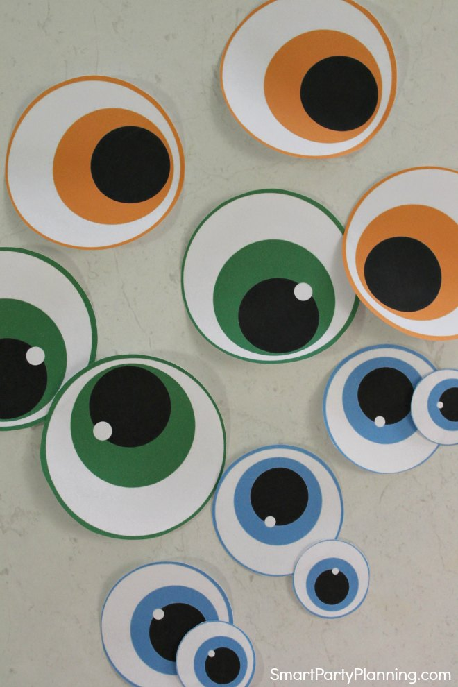Printable monster party hat eyes
