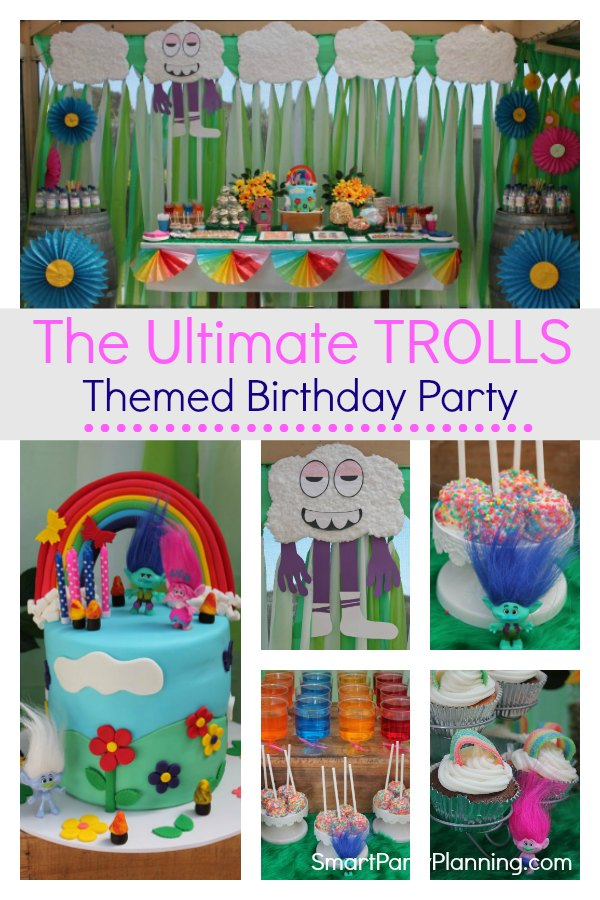 Trolls themed birthday party that kids will absolutely love. Using DIY easy party decorations and food this is the kind of party that screams FUN. Using a rainbow design, this party will be loved by boys and girls alike.