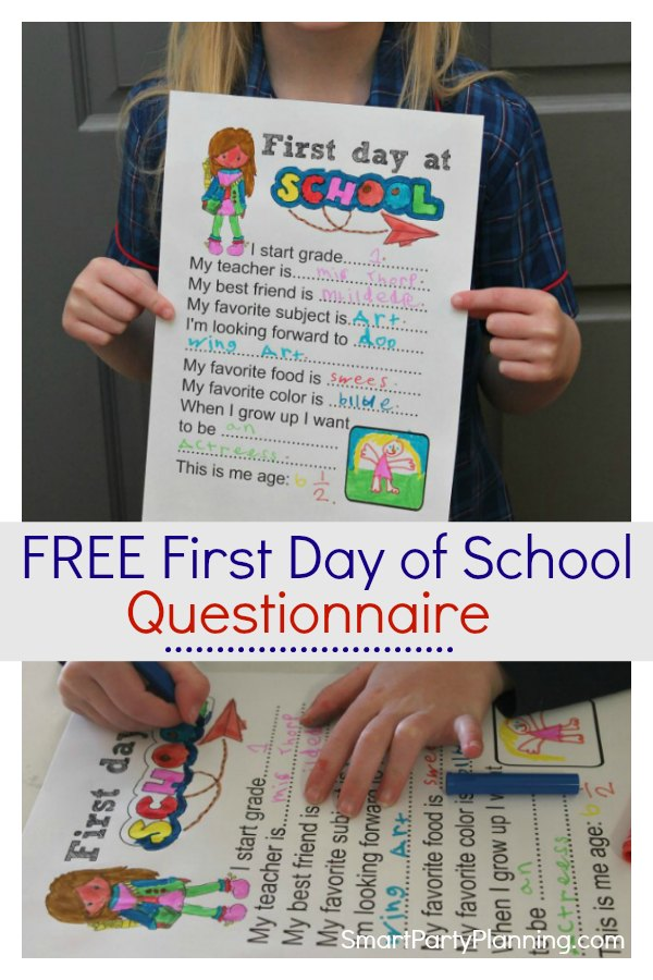 Free printable first day of school questionnaire. This is perfect for primary children to complete before the school term starts. It's a fun activity to enjoy, plus it can be used to take the first day of school photo. It will become a treasured keepsake that can be completed year after year. #Freeprintable #Firstdayofschool #Questionnaire #Fun #Children