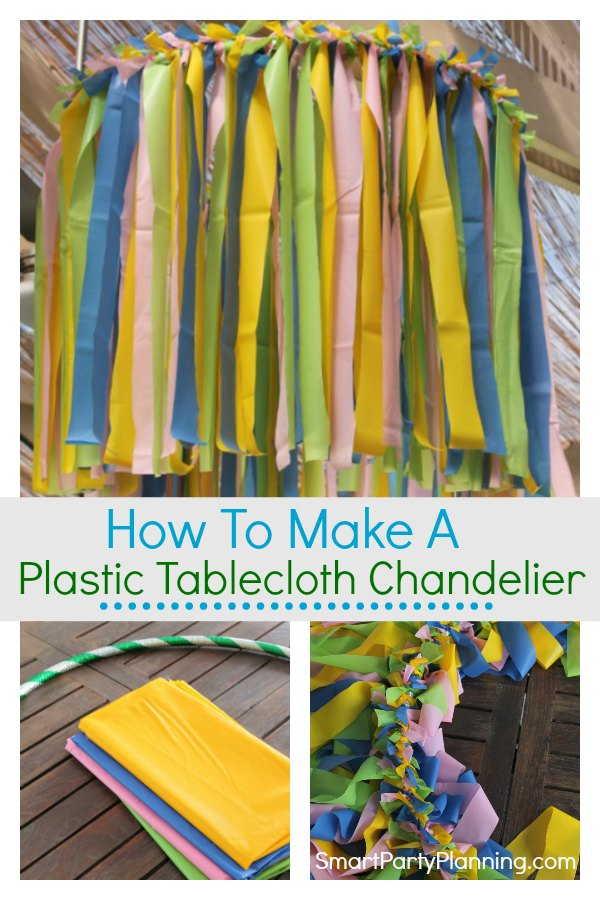 Learn how to make an easy plastic tablecloth ceiling decoration in 6 simple steps. Using dollar stores tablecloths, you can create a hanging chandelier that is fun and will provide the finishing touch to the party decor. Suitable for all party themes simply by changing the tablecloth color. #Plastictableclothdecoration #Ceilings #Easy #Fun #Dollarstores #Partydecor #Budget