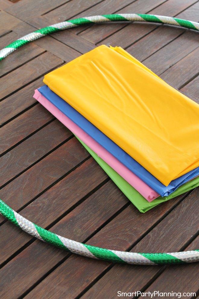 Hula Hoop and plastic tablecloths