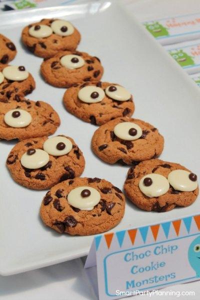chocolate chip monster cookies eyes