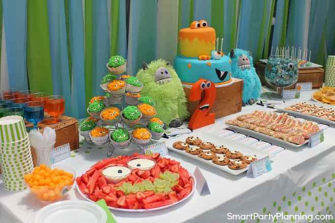Blue green and orange monster birthday party