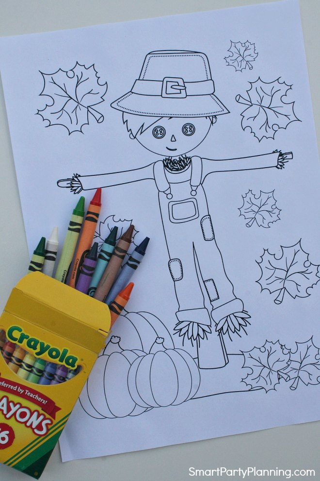 Fall coloring sheet of a scarecrow