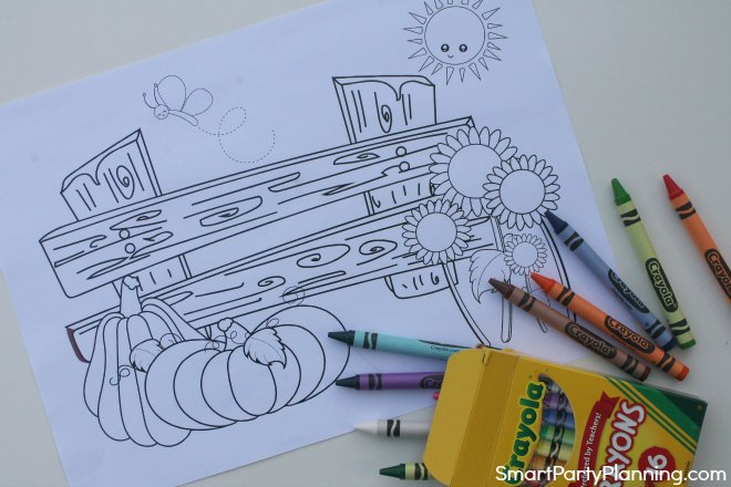 Fall coloring sheet of bench, pumpkins and sunflowers