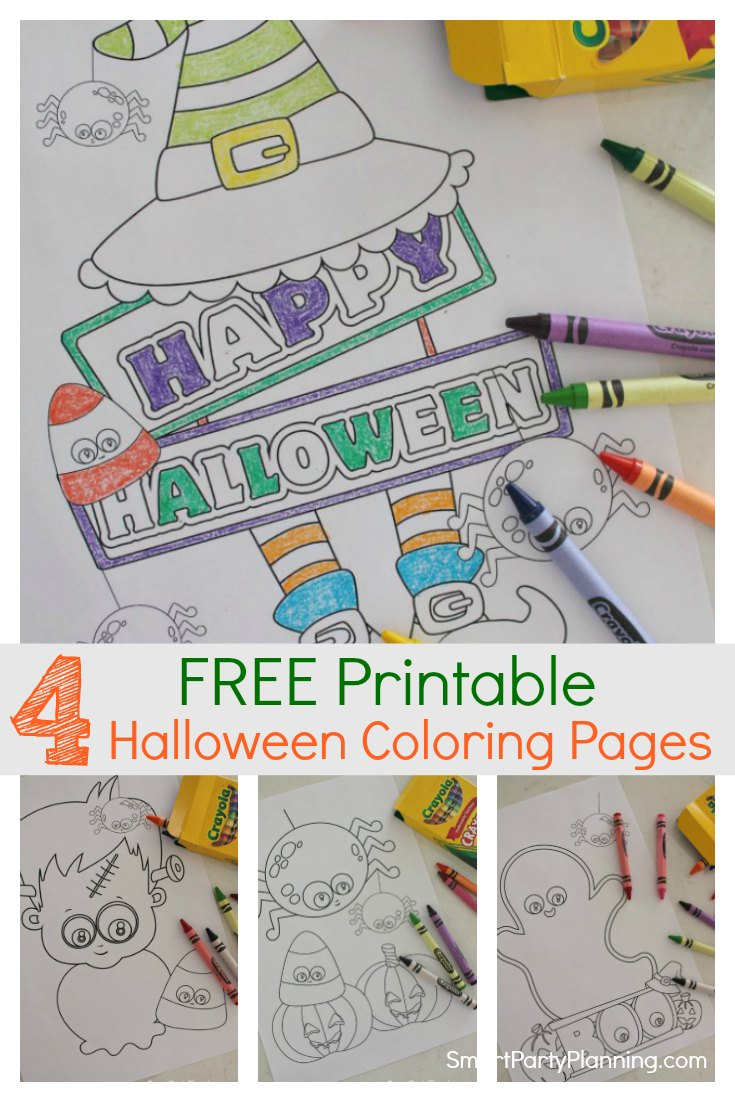 Instantly download a set of 4 free printable Halloween coloring pages. Including spooky but fun pumpkins, ghosts and even Frankenstein.  These are perfect as a Halloween activity for the kids or as a non candy trick or treat. #Halloween #Free #Coloringpages #Forkids #Frankenstein #Pumpkins #Ghosts #Activity
