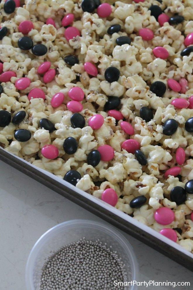 Add silver balls to the rock star popcorn