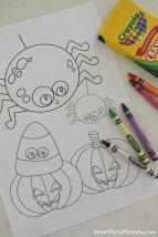 Pumpkin and spider Halloween coloring sheets