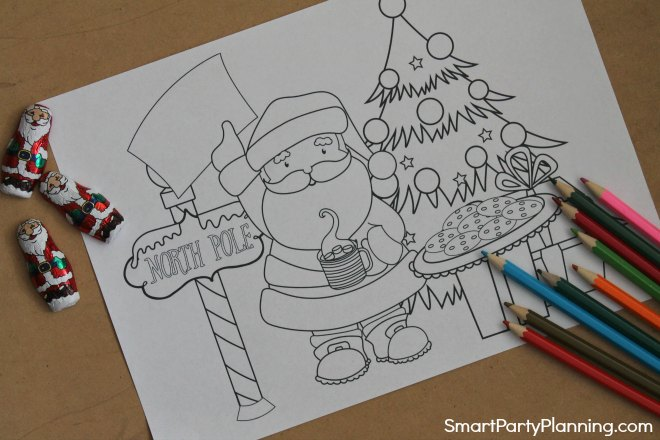 Santa and cookies coloring sheet