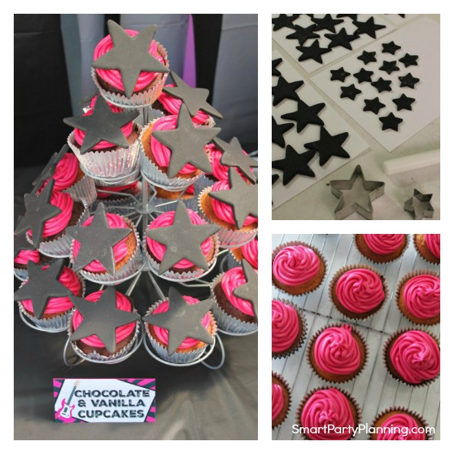 Collage of rockstar cupcakes