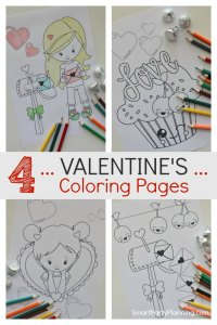 4 Valentines Coloring Pages