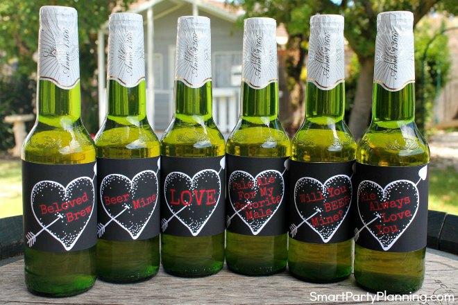 Set of 6 Valentines day beer bottle labels black