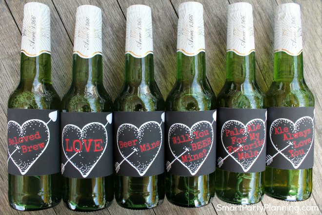 Set of printable Valentines day beer labels black