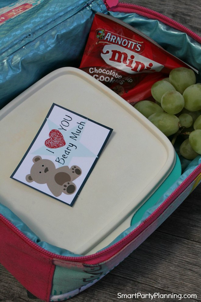 Bear Valentines Lunch Box Note
