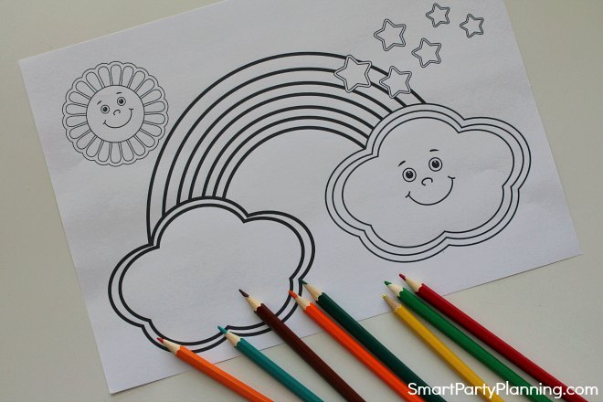 Smiling rainbow coloring page