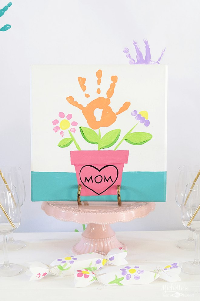 Flower handprint painting