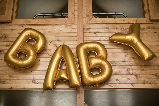 Baby balloons sign