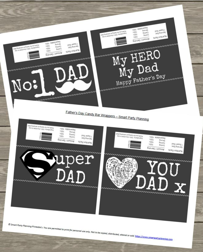 Printable Set of Fathers Day Candy Bar Wrappers