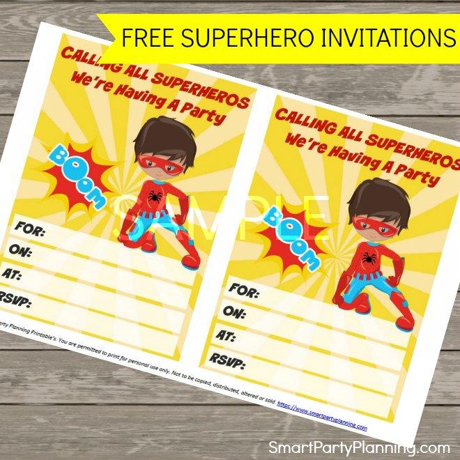 Free superhero invitations