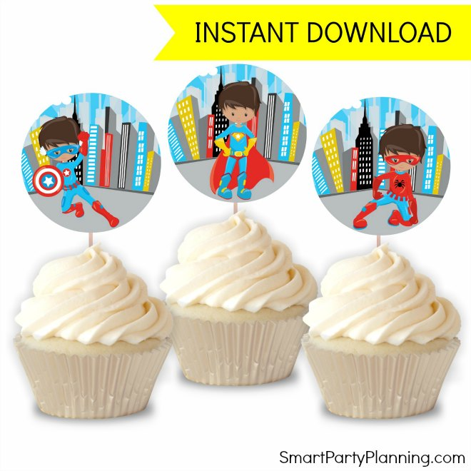 image relating to Superhero Cupcake Toppers Printable known as Incredible Superhero Bash Printables With Cost-free Invites