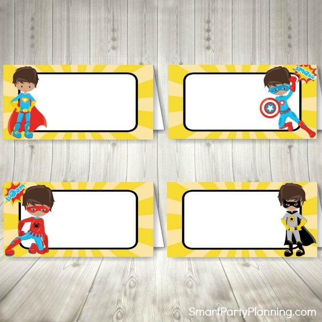 Superhero food tent labels yellow