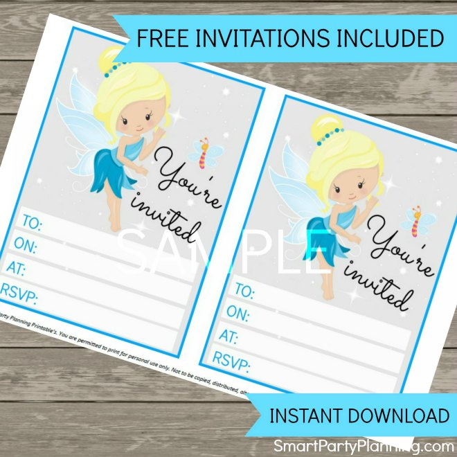Blue fairy invitations