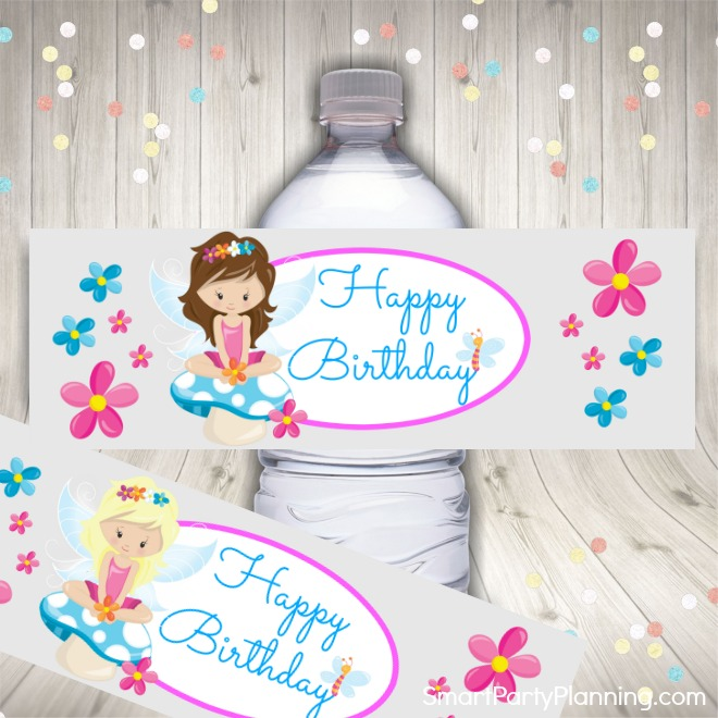 Pink fairy water bottle labels