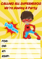 Superhero Party Invitation Yellow free