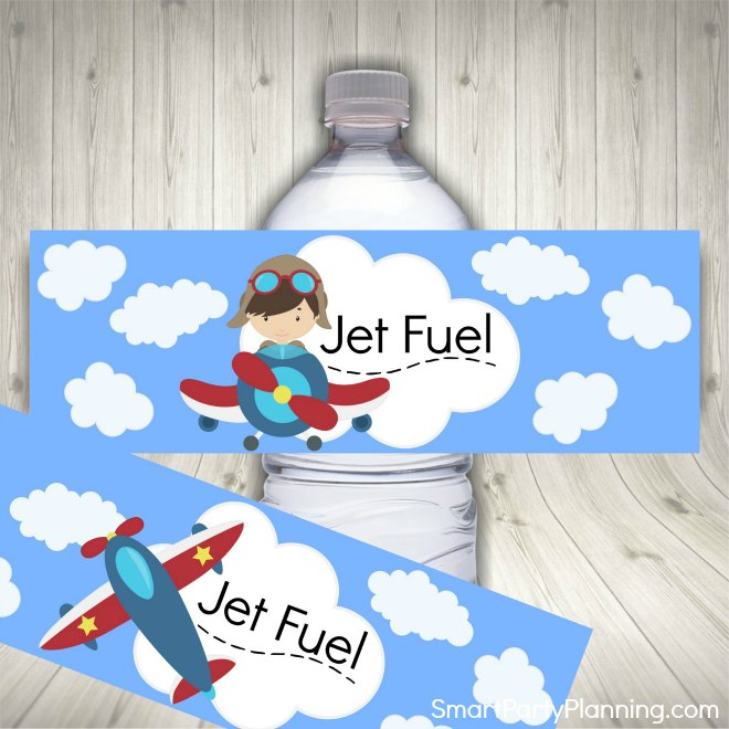 airplane water bottle labels