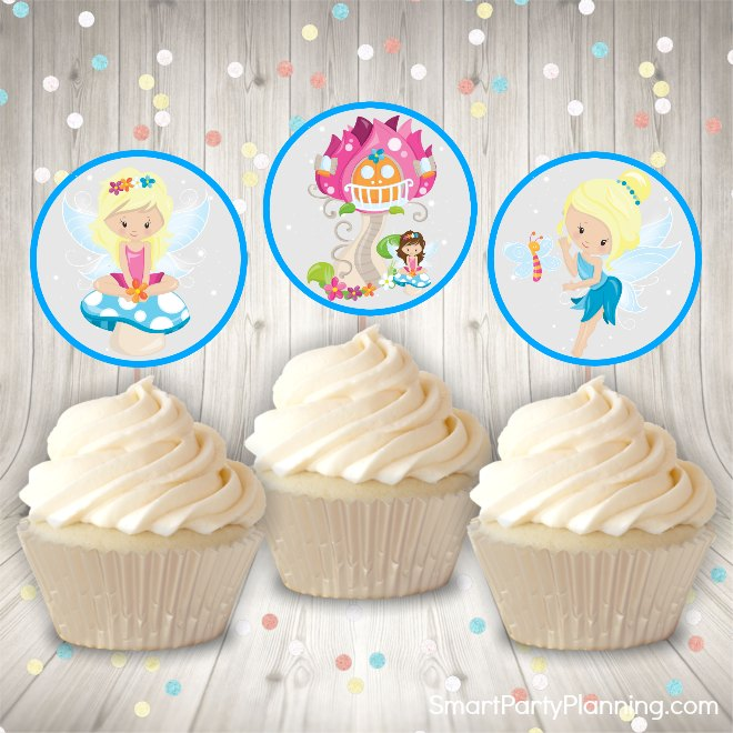 Blue fairy cupcake toppers