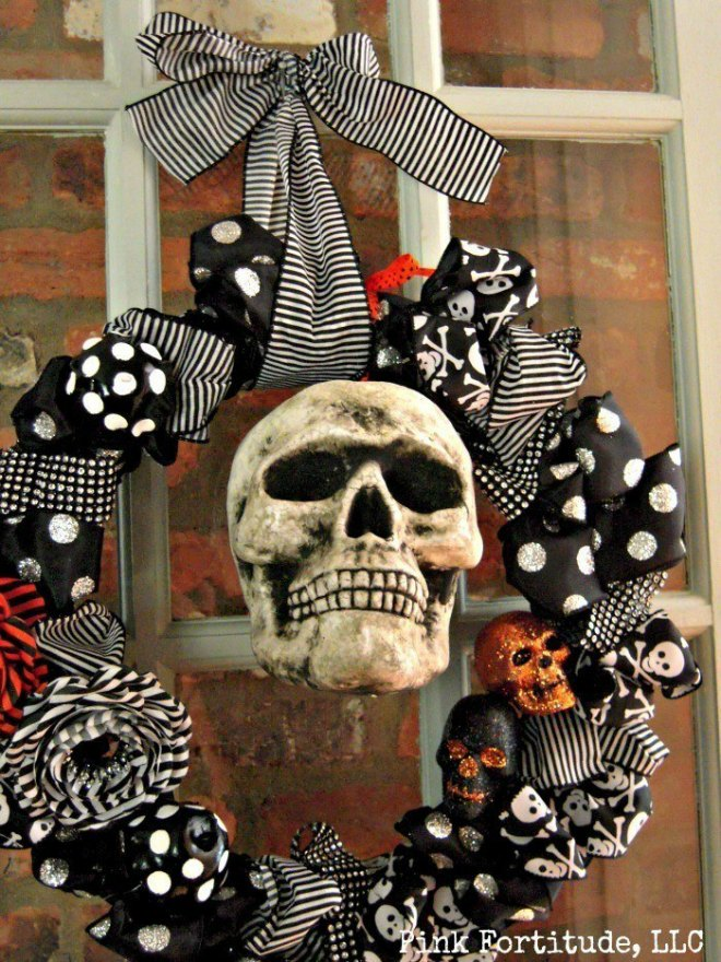 Skeleton door wreath