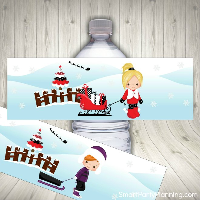 2. Christmas water labels